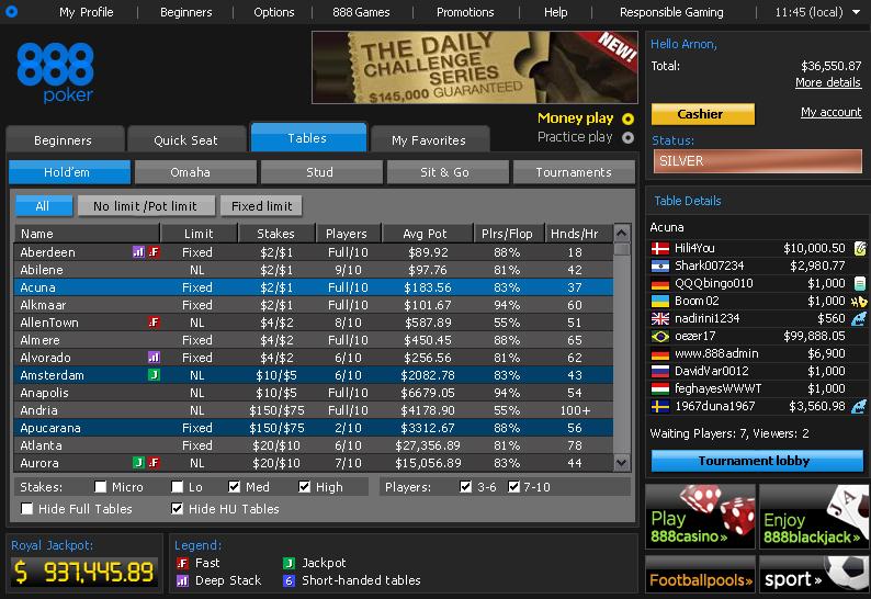 888 Poker Top Ten Poker Sites